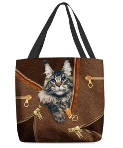 Maine Coon Cat as Leather Zipper tote bag