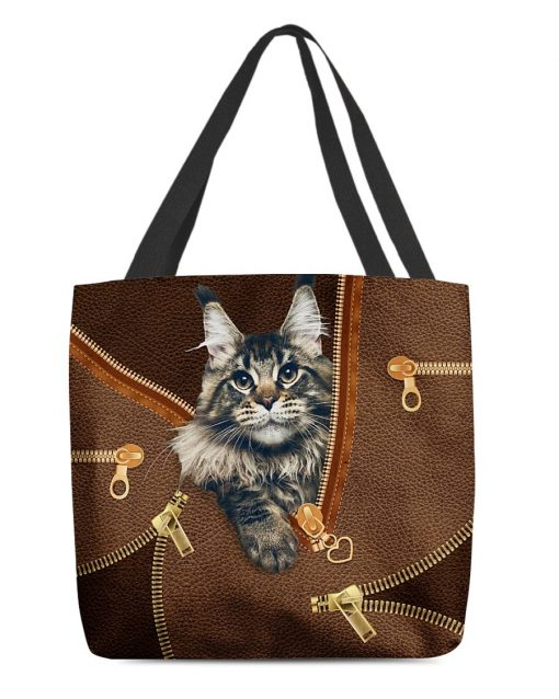 Maine Coon Cat as Leather Zipper tote bag1