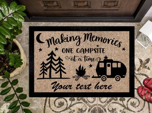 Making memories one campsite at a time personalized doormat