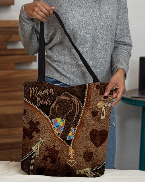 Mama Bear Autism as Leather Zipper tote bag 1