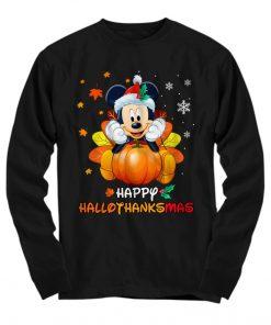 Mickey Mouse Pumpkin Happy Hallothanksmas Long sleeve