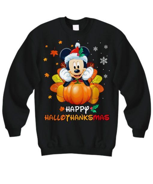 Mickey Mouse Pumpkin Happy Hallothanksmas SweatShirt
