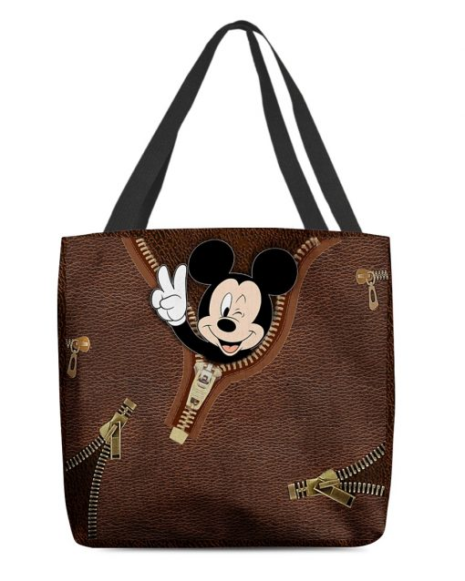 Mickey Mouse as Leather Zipper tote bag 1