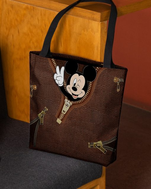 Mickey Mouse as Leather Zipper tote bag 2