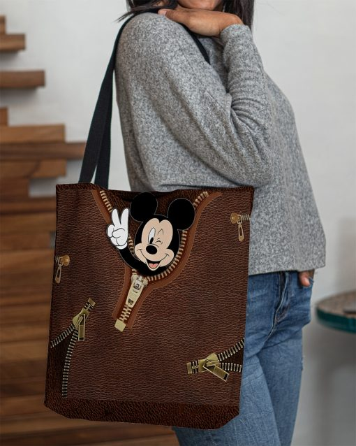 Mickey Mouse as Leather Zipper tote bag 3
