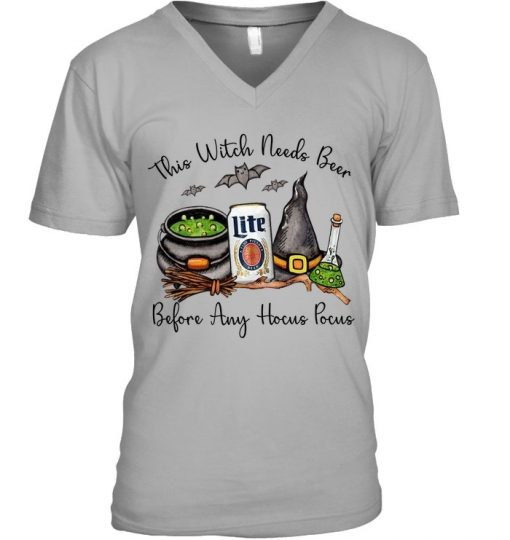 Miller Lite This witch needs beer before any Hocus Pocus V-neck
