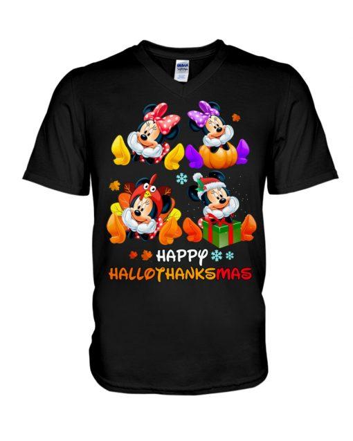 Minnie mouse Happy HalloThanksMas v-neck