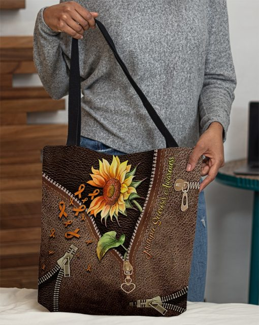 Multiple Sclerosis Awareness Sunflower as Leather Zipper tote bag 1
