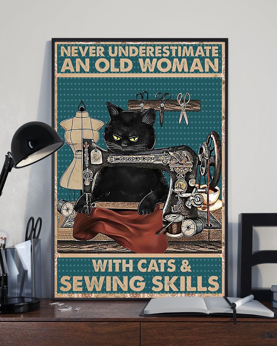 Never underestimate an old woman with cats and sewing skills poster1