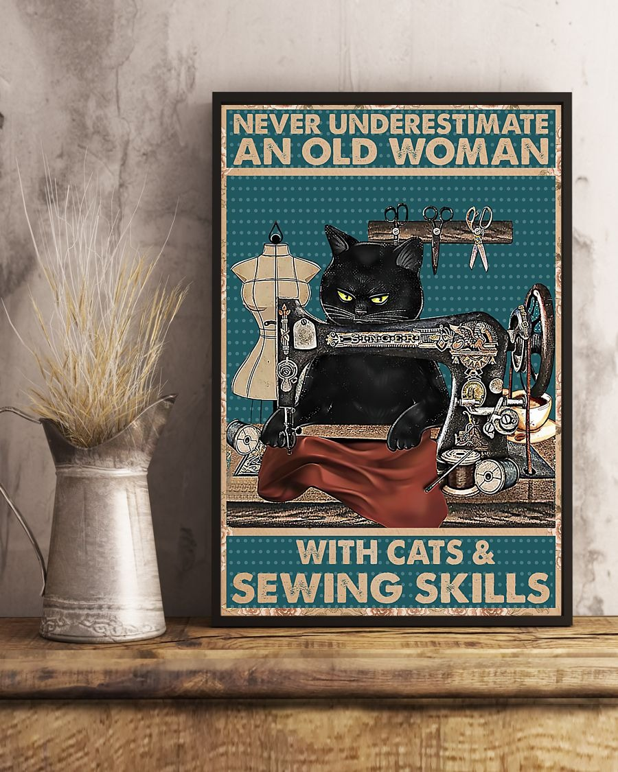 Never underestimate an old woman with cats and sewing skills poster3