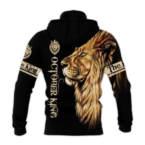 October King Lion 3D All over print hoodie1