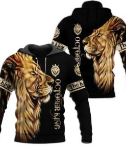 October King Lion 3D All over print hoodie2