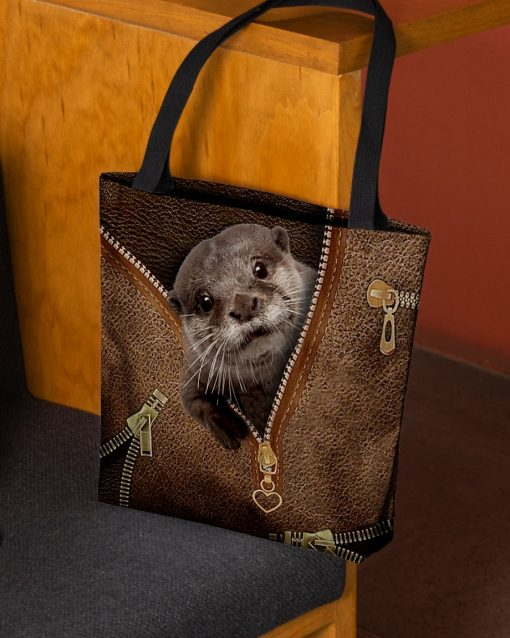 Otter as Leather Zipper tote bag 1