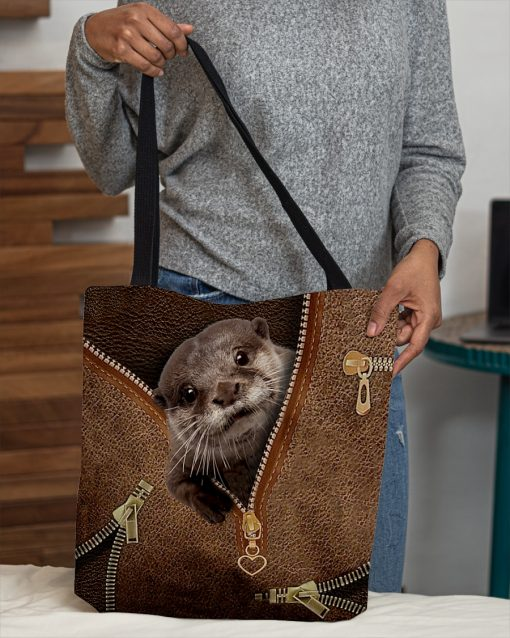 Otter as Leather Zipper tote bag 2