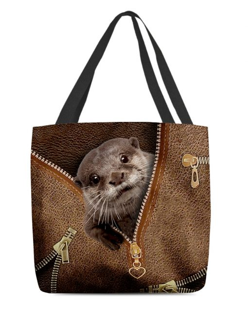 Otter as Leather Zipper tote bag 3