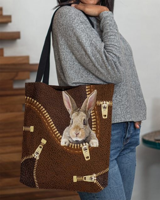Rabbit as Leather Zipper tote bag 4