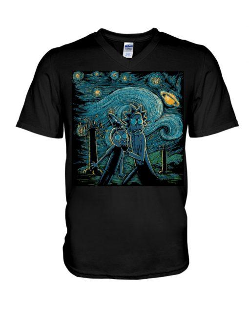 Rick and Morty Van Gogh - Starry Night v-neck