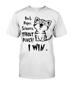 Rock Paper Scissors Throat Punch I Win Cat T-shirt