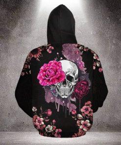 Skull with Pink Rose 3D hoodie 1