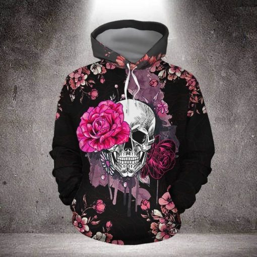 Skull with Pink Rose 3D hoodie