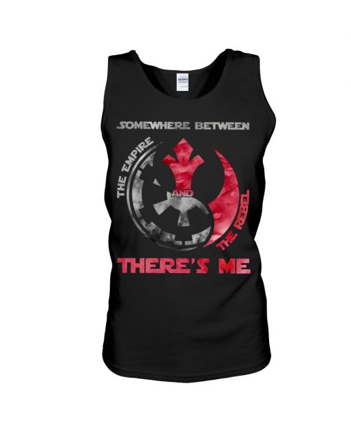 Somewhere between The empire and the rebel There's me tank top