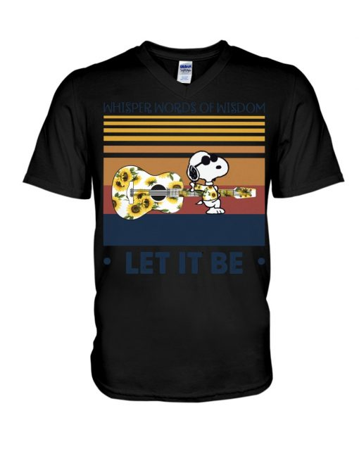 Speaking words of wisdom Let it be Snoopy Sunflower v-neck