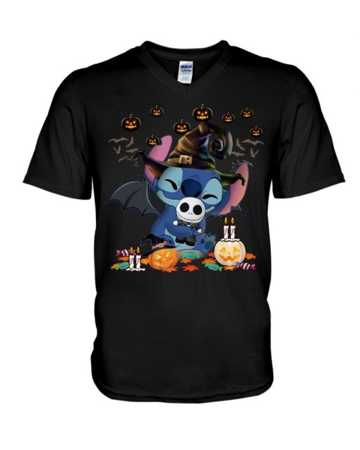 Stitch hugs Jack Skellington Halloween V-neck