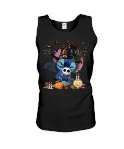 Stitch hugs Jack Skellington Halloween tank top