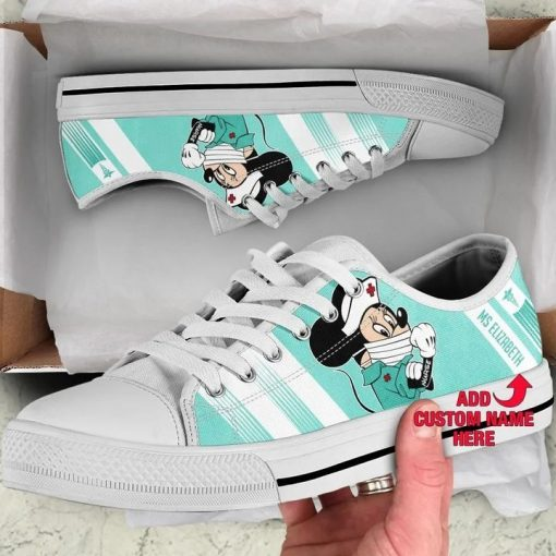 Strong Nurse Mickey Mouse We can do it low top shoes