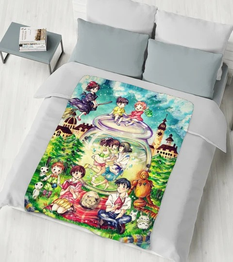 Studio Ghibli Characters fleece blanket 1