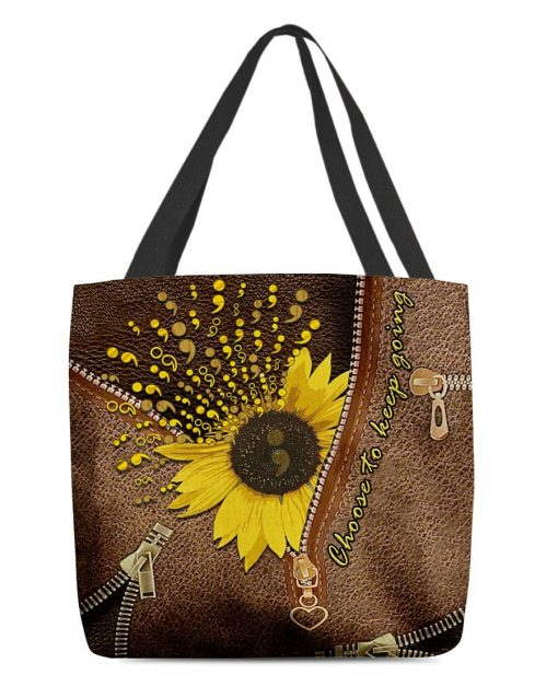 Sunflower Semicolon Choose to keep going as Leather Zipper tote bag