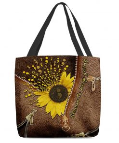 Sunflower Semicolon Choose to keep going as Leather Zipper tote bag1