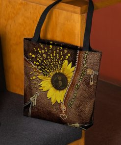Sunflower Semicolon Choose to keep going as Leather Zipper tote bag3