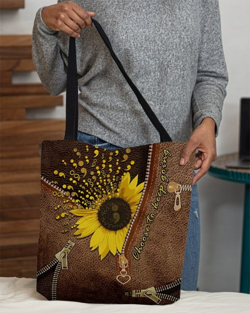 Sunflower Semicolon Choose to keep going as Leather Zipper tote bag4