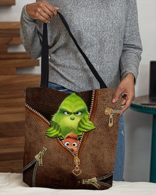 The Grinch as Leather Zipper tote bag 1