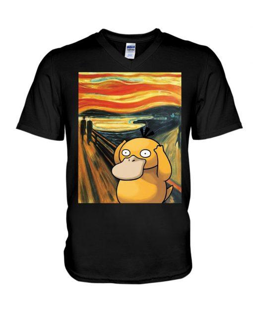 The Scream painting Koduck Pokemon V-neck