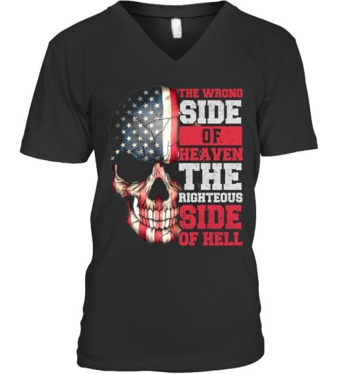 The wrong side of heaven The righteous side of hell skull V-neck