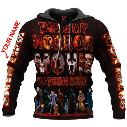 This Is My Horror Movie Watching Shirt Custom Name 3D All Over Printed Hoodie