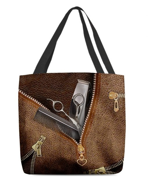 Tool Hairdresser as Leather Zipper tote bag