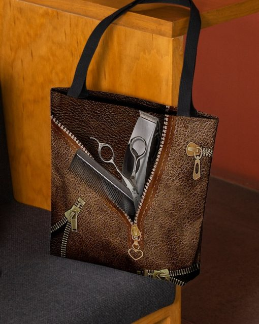 Tool Hairdresser as Leather Zipper tote bag2