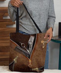Tool Hairdresser as Leather Zipper tote bag3
