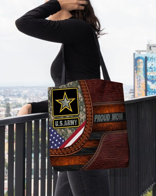US Army Proud Mom Camo as Leather Zipper tote bag3
