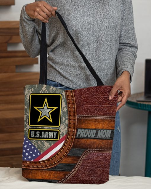 US Army Proud Mom Camo as Leather Zipper tote bag4