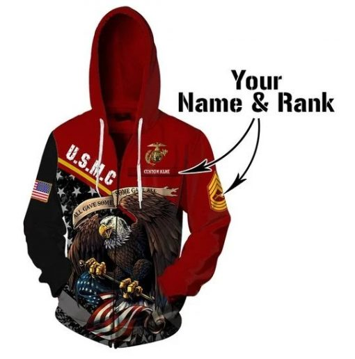 USMC All gave some some gave all personalized 3D all over print hoodie1