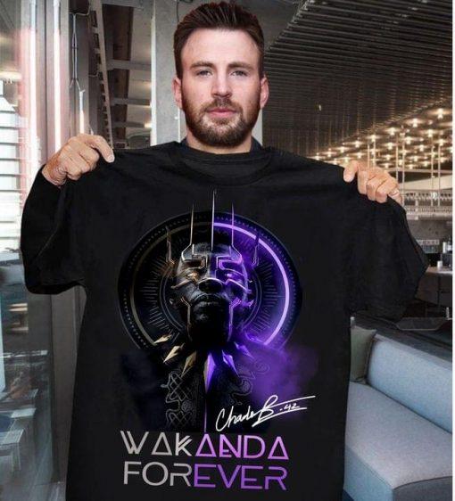 Wakanda Forever King Chadwick Boseman signature shirt 0