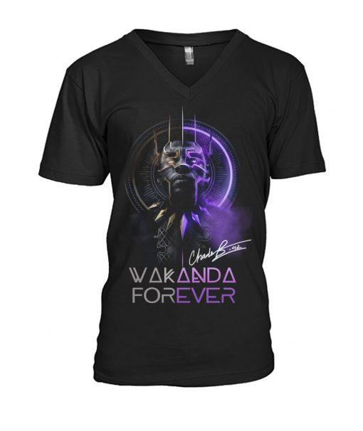 Wakanda Forever King Chadwick Boseman signature v-neck
