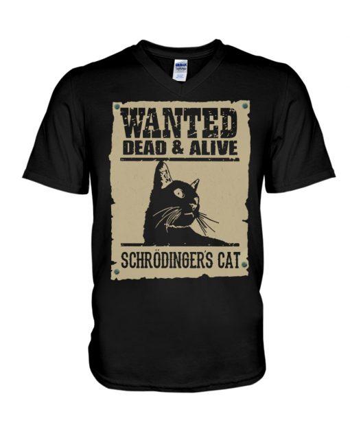 Wanted Dead Or Alive Schrodinger's Cat v-neck