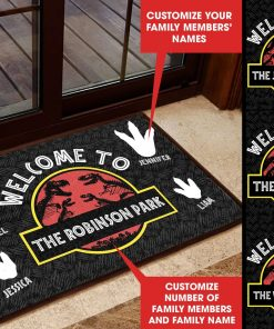 Welcome To Jurassic Dinosaur Park Personalized Doormat