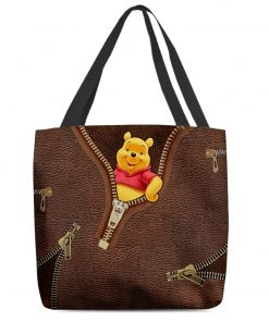 Winnie-the-Pooh as Leather Zipper tote bag1