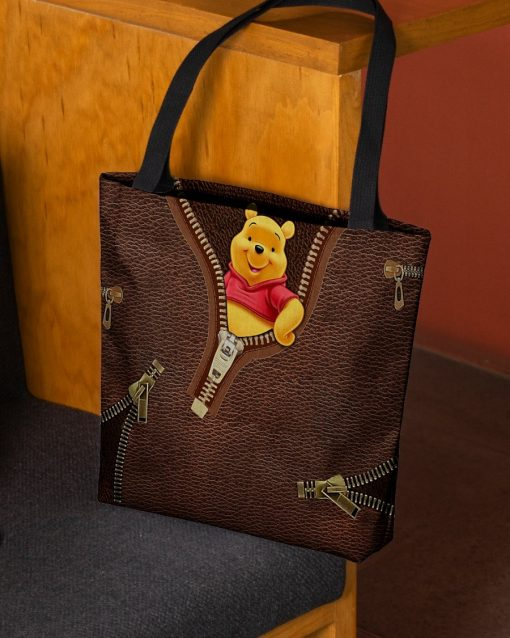 Winnie-the-Pooh as Leather Zipper tote bag2